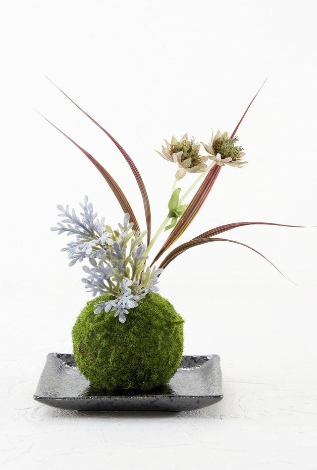 【造花 観葉植物 インテリアグリーン】こけ玉 ジャパーニーズモダンN(下皿付き)
