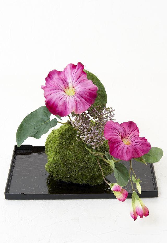 【造花 観葉植物 インテリアグリーン】こけ玉 ジャパーニーズモダンQ(下皿付き)