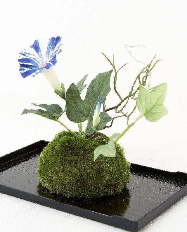 【造花 観葉植物 インテリアグリーン】こけ玉 ジャパーニーズモダンS(下皿付き)