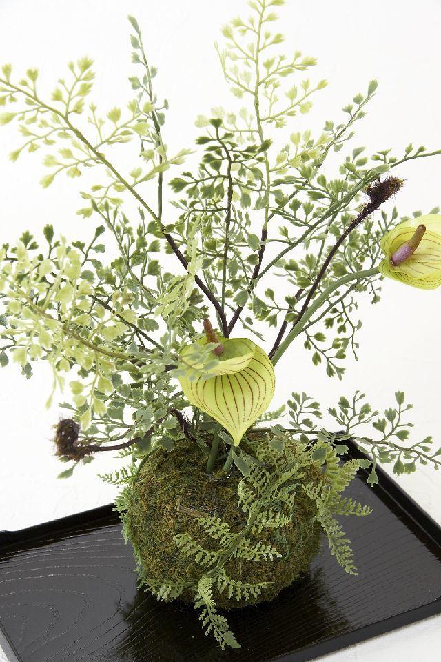【造花 観葉植物 インテリアグリーン】こけ玉 ジャパーニーズモダンT(下皿付き)
