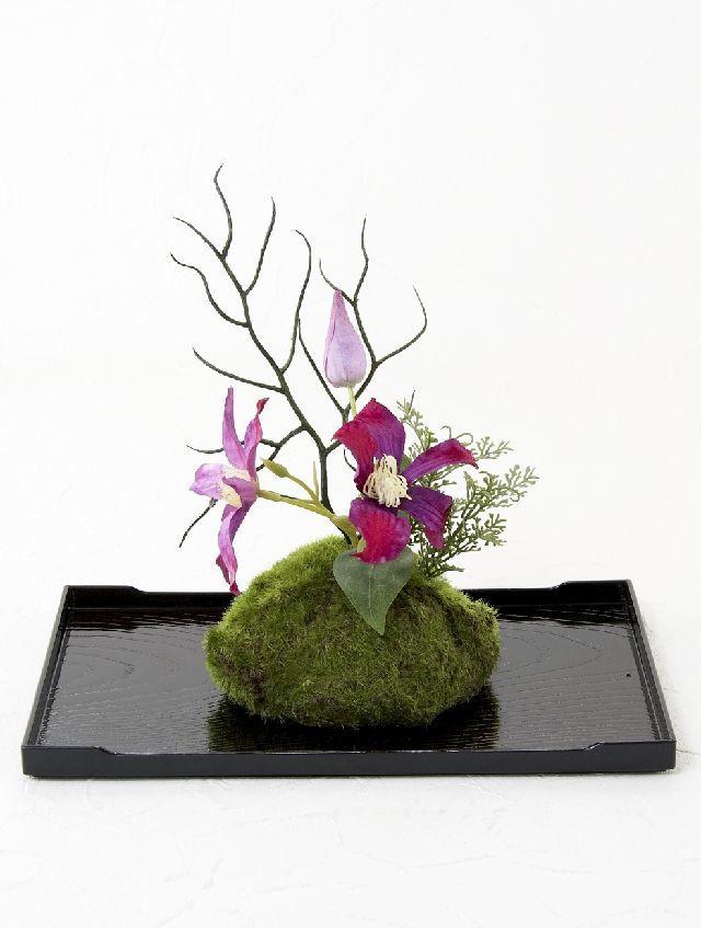 【造花 観葉植物 インテリアグリーン】こけ玉 ジャパーニーズモダンY(下皿付き)