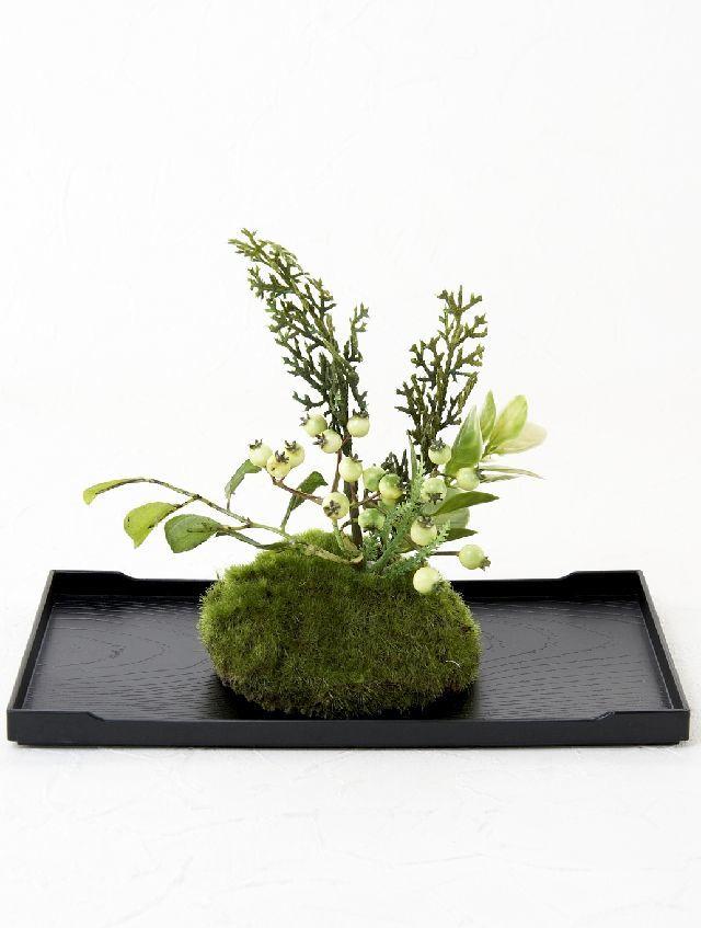 【造花 観葉植物 インテリアグリーン】こけ玉 ジャパーニーズモダンZ(下皿付き)