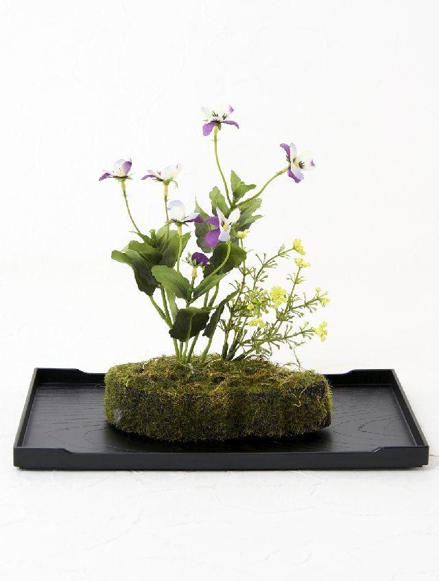 【造花 観葉植物 インテリアグリーン】こけ玉 ジャパーニーズモダン2(下皿付き)