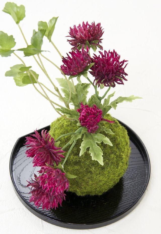 【造花 観葉植物 インテリアグリーン】こけ玉 和アレンジA(下皿付き)