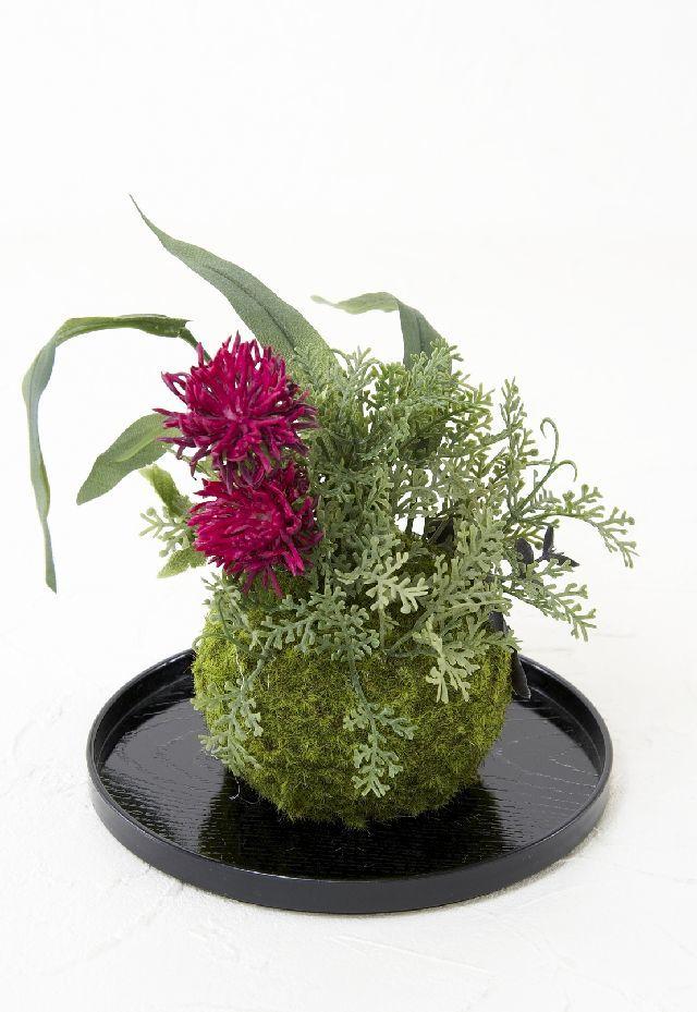 【造花 観葉植物 インテリアグリーン】こけ玉 和アレンジB(下皿付き)