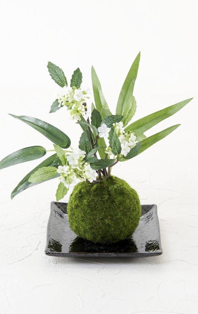 【造花 観葉植物 インテリアグリーン】こけ玉 和アレンジC(下皿付き)