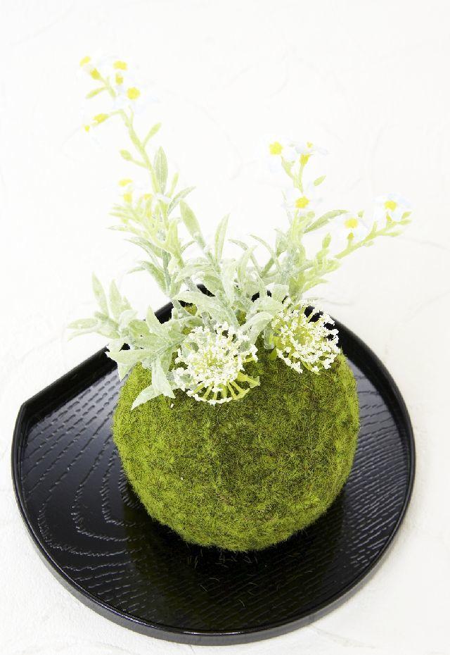 【造花 観葉植物 インテリアグリーン】こけ玉 和アレンジF(下皿付き)
