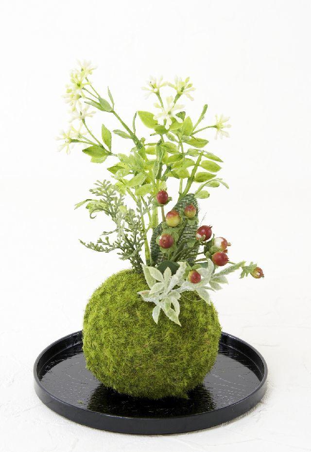 【造花 観葉植物 インテリアグリーン】こけ玉 和アレンジG(下皿付き)