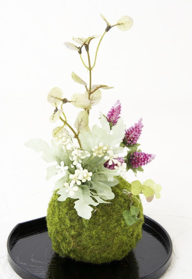 【造花 観葉植物 インテリアグリーン】こけ玉 和アレンジI(下皿付き)