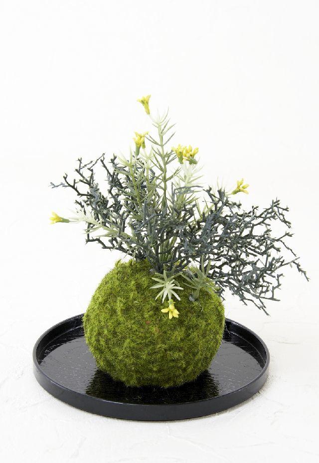 【造花 観葉植物 インテリアグリーン】こけ玉 和アレンジL(下皿付き)