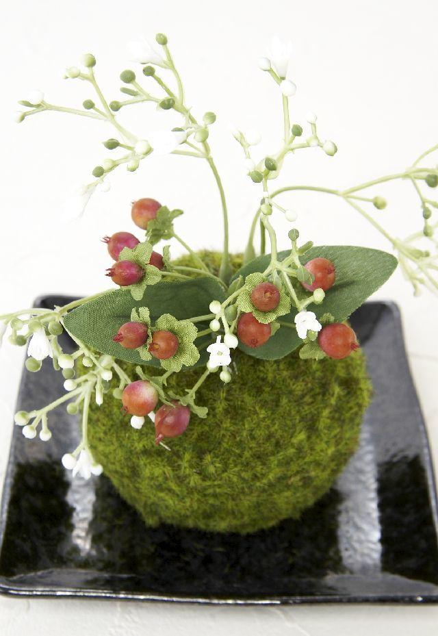 【造花 観葉植物 インテリアグリーン】こけ玉 和アレンジM(下皿付き)