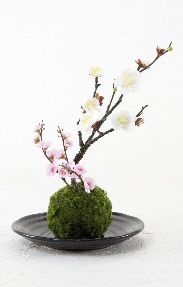 【造花 観葉植物 インテリアグリーン】こけ玉 和アレンジN(下皿付き)
