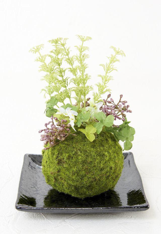 【造花 観葉植物 インテリアグリーン】こけ玉 和アレンジR(下皿付き)