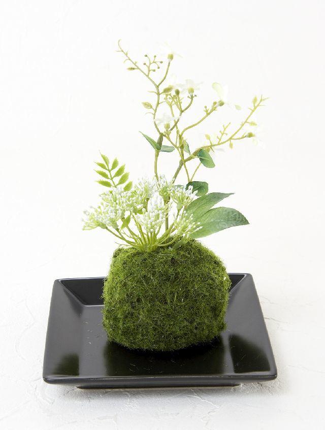 【造花 観葉植物 インテリアグリーン】こけ玉 和アレンジV(下皿付き)