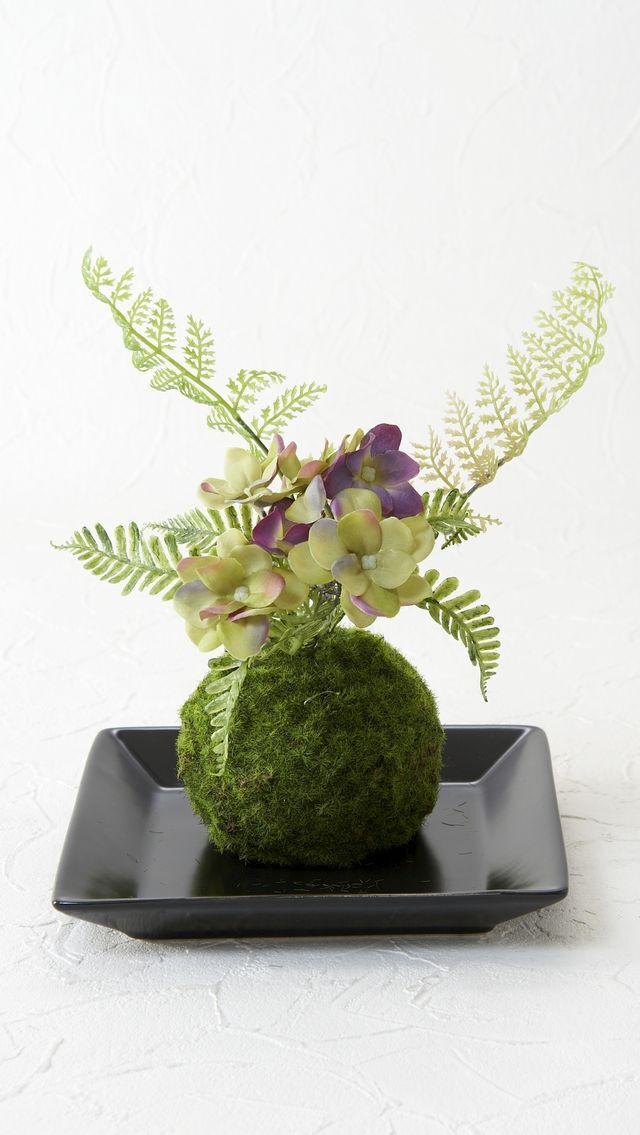 【造花 観葉植物 インテリアグリーン】こけ玉 和アレンジW(下皿付き)