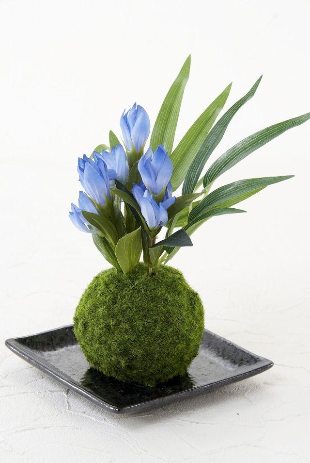 【造花 観葉植物 インテリアグリーン】こけ玉 和アレンジY(下皿付き)