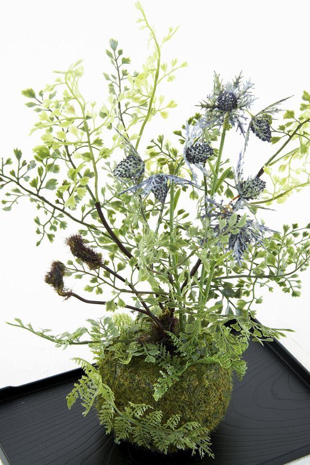 【造花 観葉植物 インテリアグリーン】苔玉 和風アレンジ1(下皿付き)