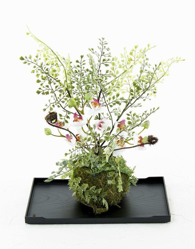 【造花 観葉植物 インテリアグリーン】苔玉 和風アレンジ2(下皿付き)