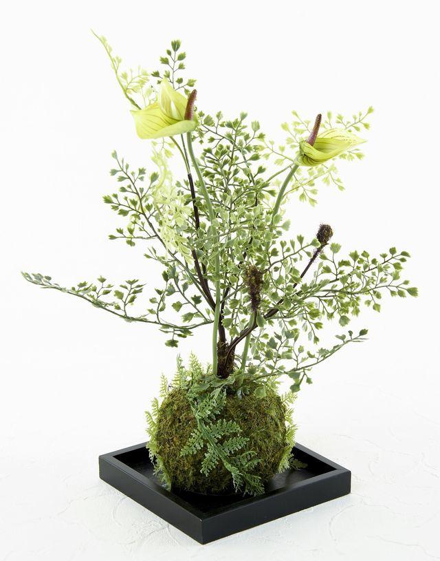 【造花 観葉植物 インテリアグリーン】苔玉 和風アレンジ5(下皿付き)