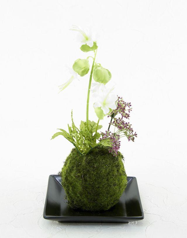 【造花 観葉植物 インテリアグリーン】苔玉 和風アレンジ7(下皿付き)