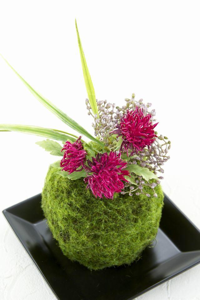 【造花 観葉植物 インテリアグリーン】苔玉 和風アレンジ10(下皿付き)
