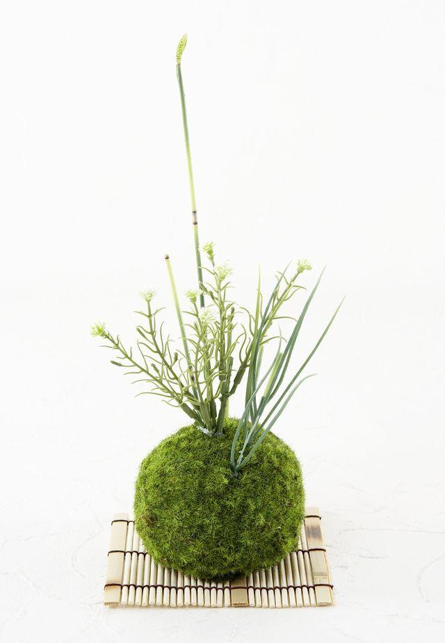 【造花 観葉植物 インテリアグリーン】苔玉 和風アレンジ11(下皿付き)
