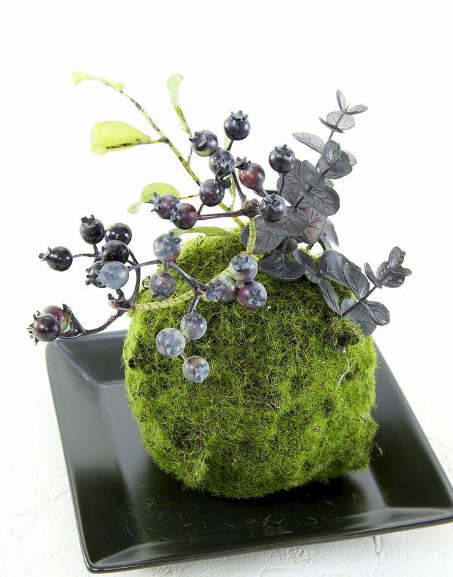 【造花 観葉植物 インテリアグリーン】苔玉 和風アレンジ13(下皿付き)