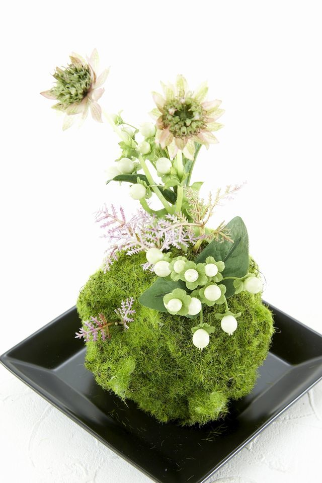 【造花 観葉植物 インテリアグリーン】苔玉 和風アレンジ16(下皿付き)