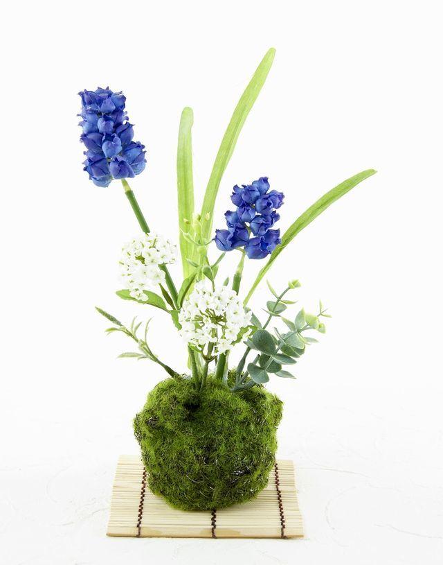 【造花 観葉植物 インテリアグリーン】苔玉 和風アレンジ17(下皿付き)
