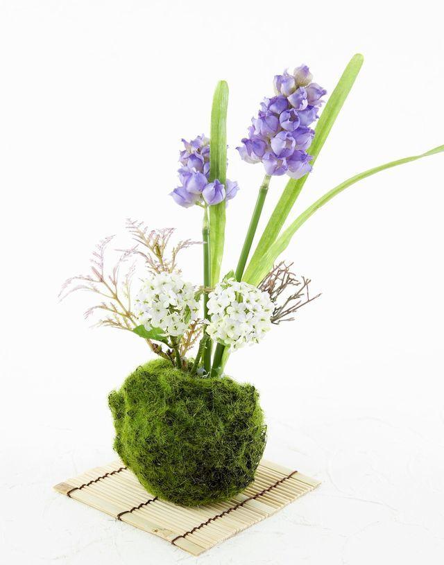【造花 観葉植物 インテリアグリーン】苔玉 和風アレンジ18(下皿付き)