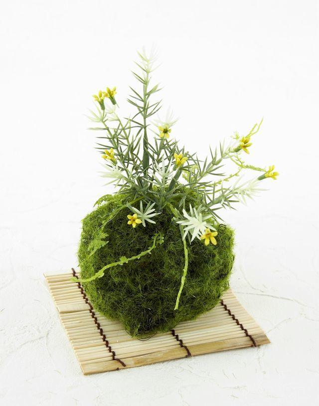 【造花 観葉植物 インテリアグリーン】苔玉 和風アレンジ20(下皿付き)