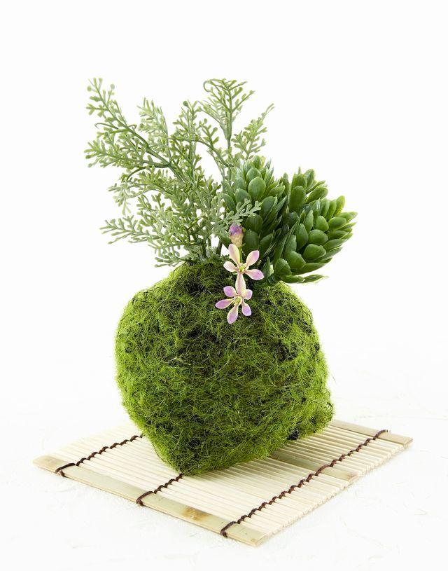 【造花 観葉植物 インテリアグリーン】苔玉 和風アレンジ21(下皿付き)