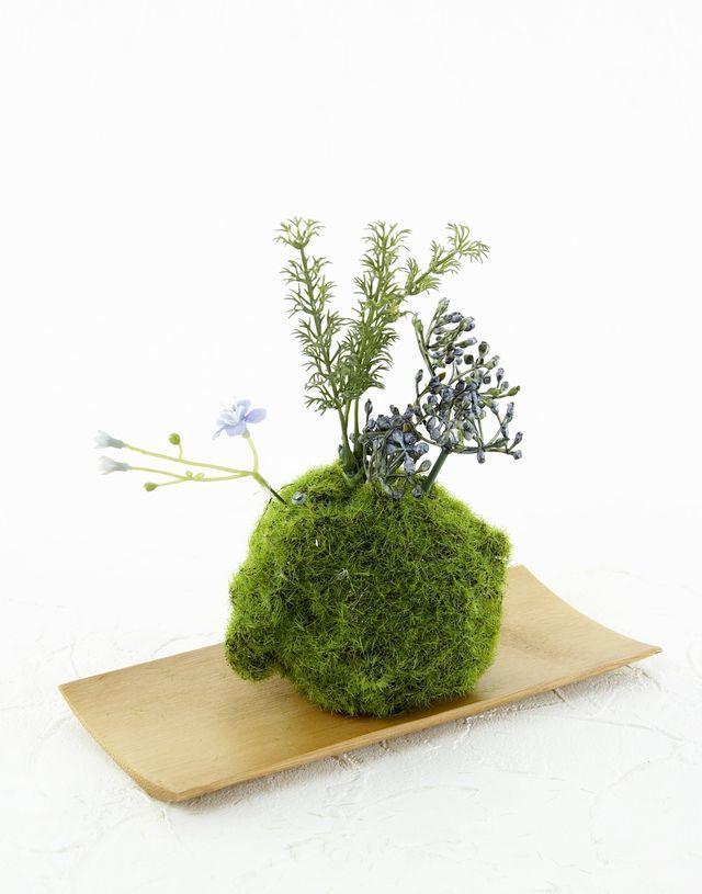 【造花 観葉植物 インテリアグリーン】苔玉 和風アレンジ23(下皿付き)