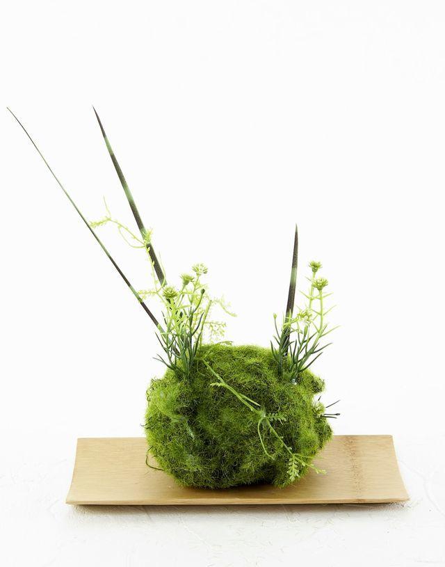【造花 観葉植物 インテリアグリーン】苔玉 和風アレンジ24(下皿付き)