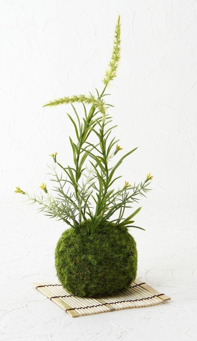 【造花 観葉植物 インテリアグリーン】苔玉 和風アレンジ26(下皿付き)