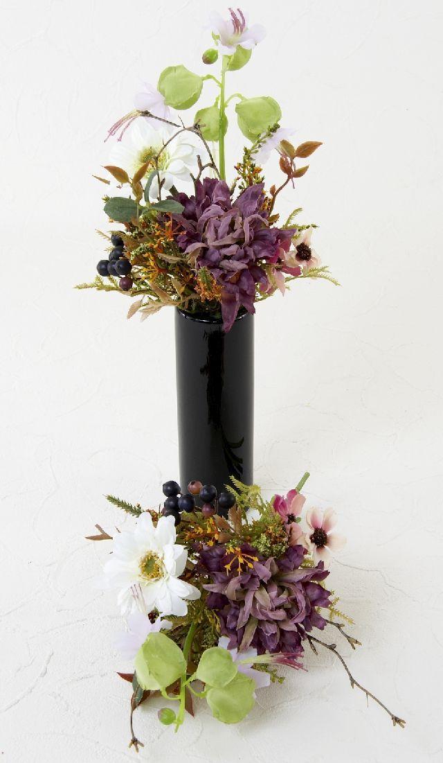 【造花 ミニ供花】ガーベラ&スターフラワーのミニ仏花セット(左右1対)
