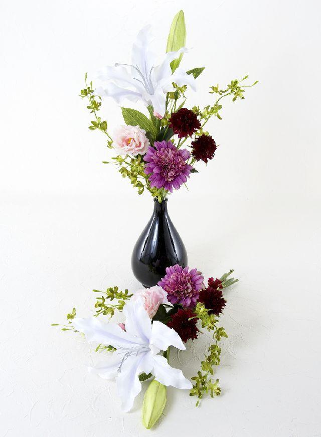 【造花の仏花・供花】カサブランカリリーと矢車草のモダン供花(左右1対セット)