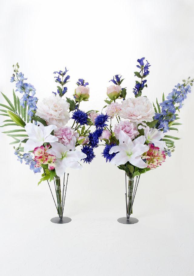 【造花の仏花・供花】カサブランカ&ピオニーのモダン洋風供花(左右1対セット)