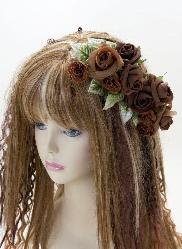 【特価SALE 髪飾り・ヘアアクセサリー】ローズ-ブラウン×グリーン・コームタイプ