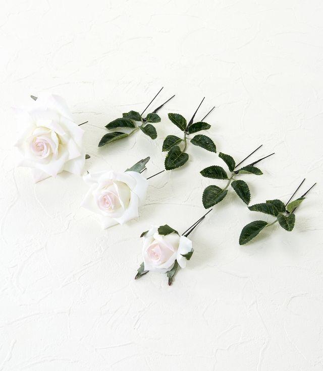 【アートフラワー ヘッドピース】プリンセスローズのUピン髪飾り(ピンクホワイト/6本セット)
