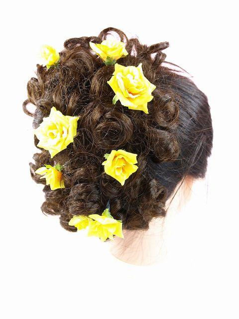 【アートフラワー ヘッドピース】ミニローズの髪飾りセット(イエロー系10本セット)