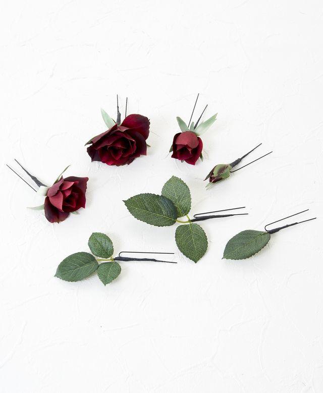 【アートフラワー ヘッドピース】ダイヤモンドローズのUピン髪飾り(ワイン/7本セット)