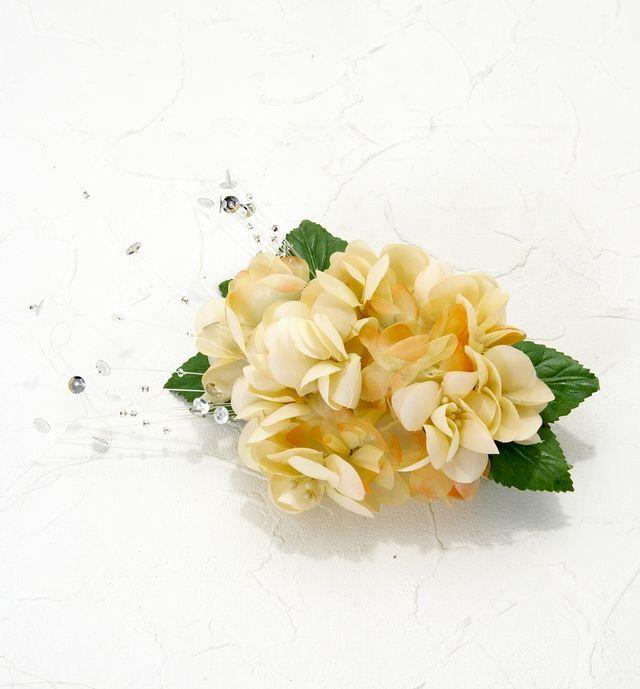 【特価SALE 髪飾り・ヘアアクセサリー】紫陽花-アイボリーオレンジ・バレッタ