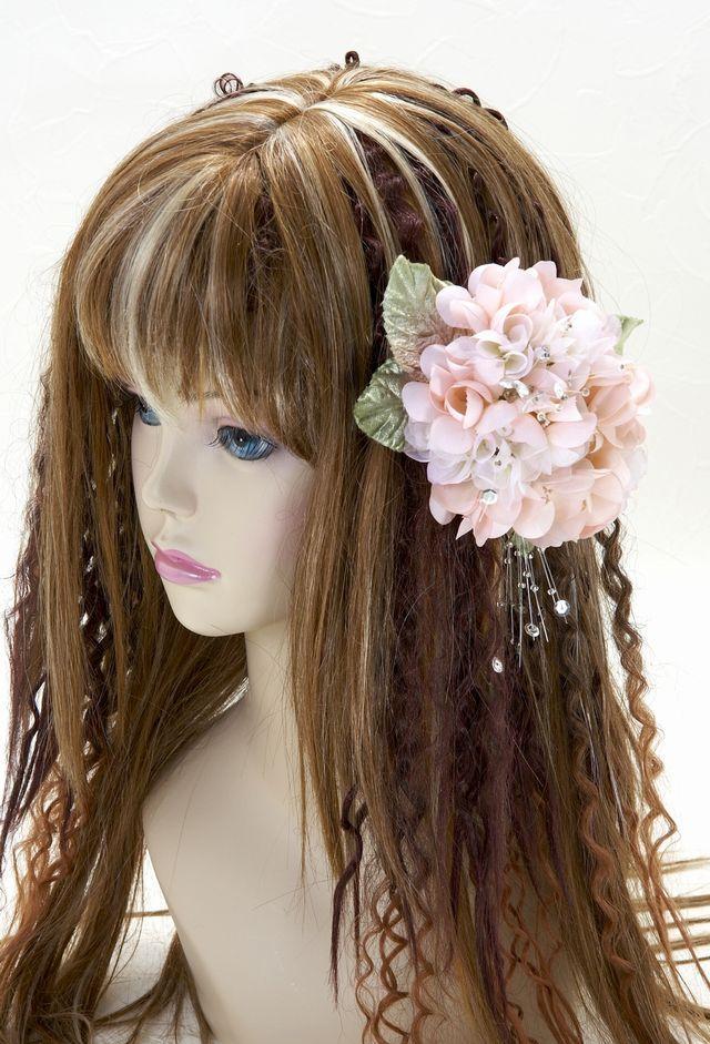 【特価SALE 髪飾り・ヘアアクセサリー】紫陽花-ピーチピンク・バレッタ