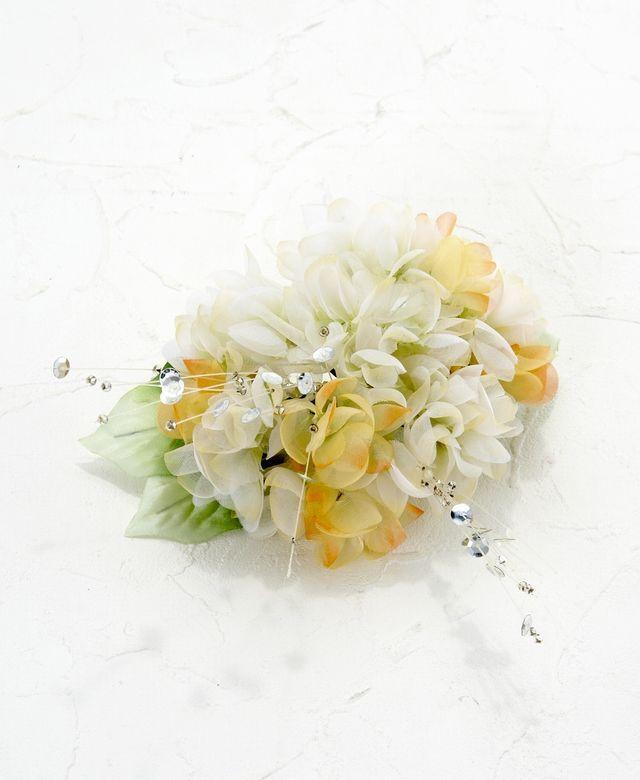 【特価SALE 髪飾り・ヘアアクセサリー】紫陽花-ライムグリーン×イエローオレンジ・バレッタ