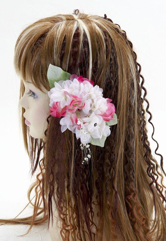 【特価SALE 髪飾り・ヘアアクセサリー】紫陽花-ピンク×ワインレッド・バレッタ