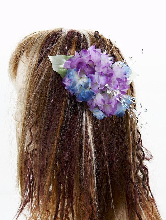 【特価SALE 髪飾り・ヘアアクセサリー】紫陽花-パープル×ブルー・バレッタ