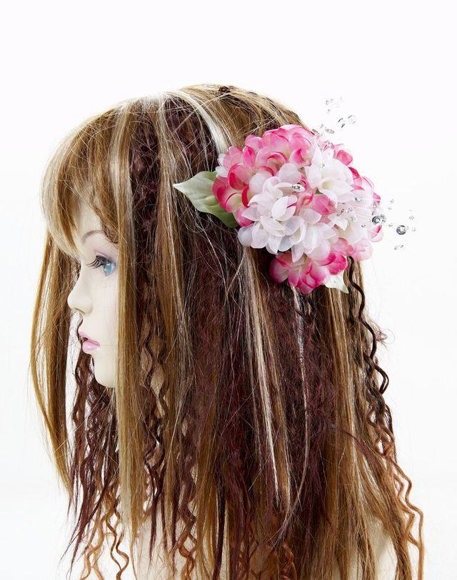 【特価SALE 髪飾り・ヘアアクセサリー】紫陽花-ローズピンク・バレッタ
