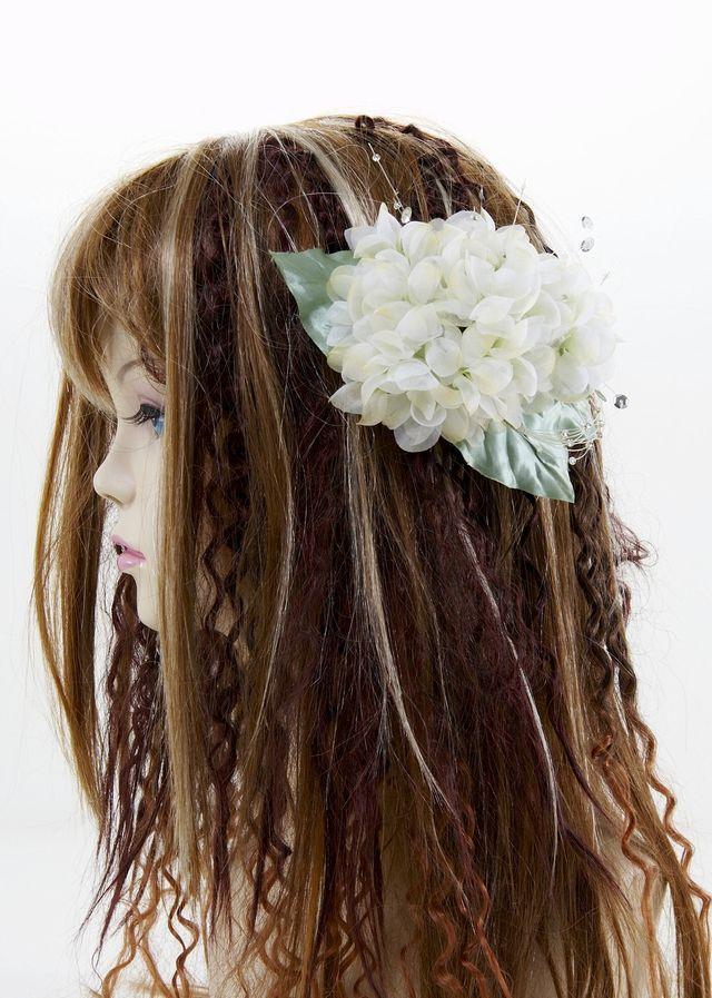 【特価SALE 髪飾り・ヘアアクセサリー】紫陽花-ライムグリーン・バレッタ