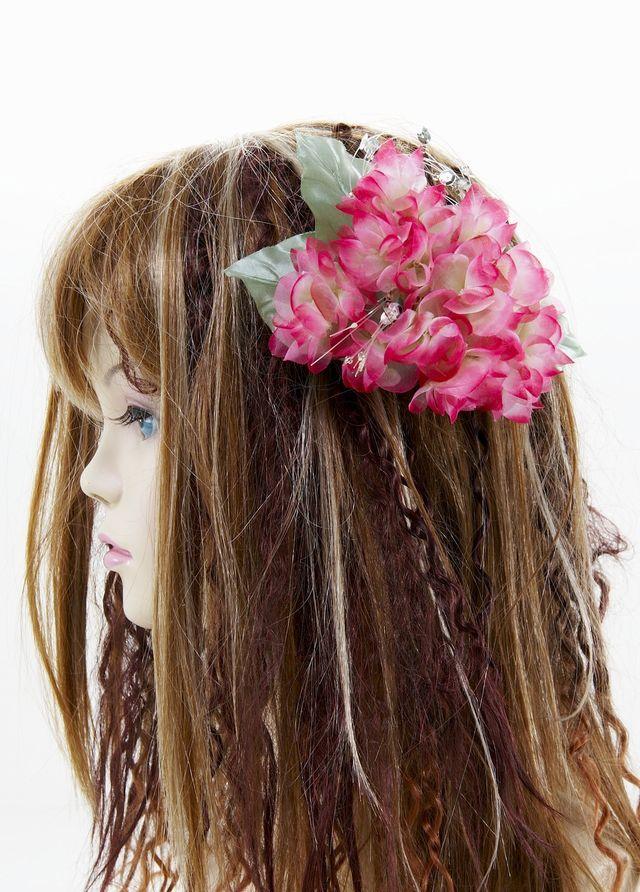【特価SALE 髪飾り・ヘアアクセサリー】紫陽花-ピンクレッド・バレッタ
